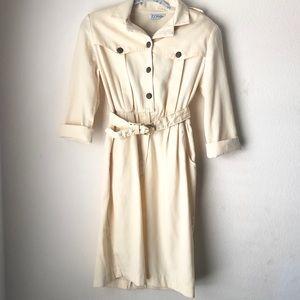 Vintage Button Midi Dress With Belt Cream 6P